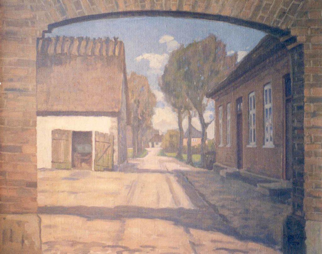 Maleri af Holmegården, set mod Mønvej