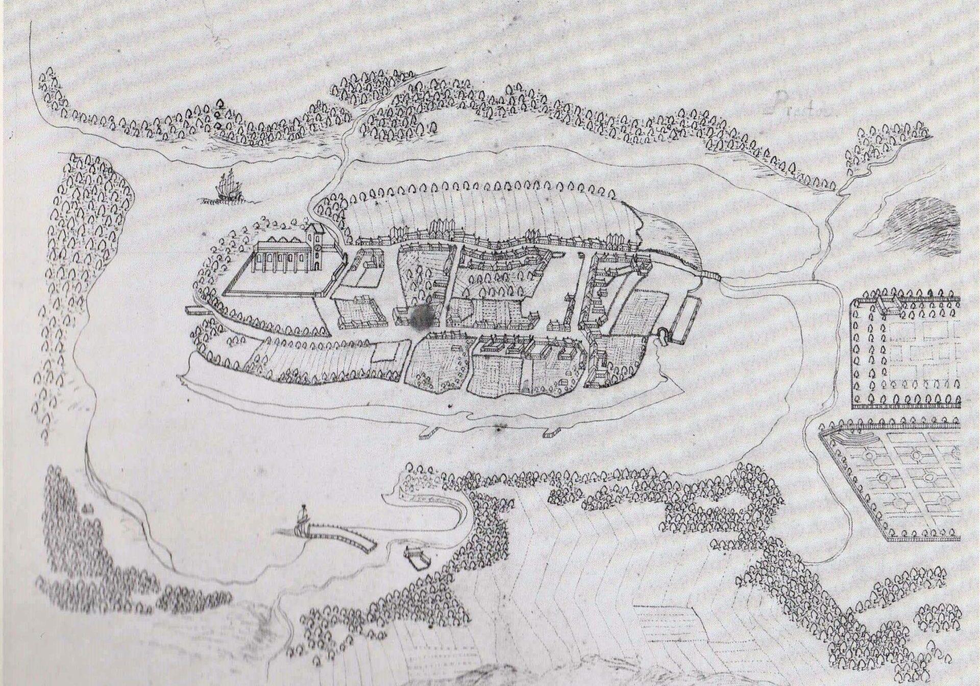 Præstø by omkring 1720